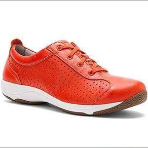 Dansko Orange Hillary Lace Up Leather Sneakers